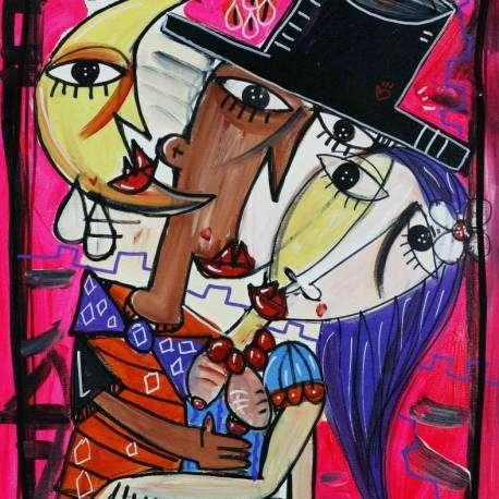 Un abbraccio tenero, il titolo dell'opera dai colori luminosi e fluoro, l'artista è Alessandro Siviglia pittore italiano della città di Salerno. Il suo studio è a Salerno ma spedisce in tutto il mondo. Quadro moderno sul tema dell'amore, gli abbracci affettuosi che rendono la vita più dolce. Quadri unici per arredare lo studio, ufficio ambiente di lavoro per portare nel nostro ufficio dove lavoriamo un angolo colorato di dolcezza.