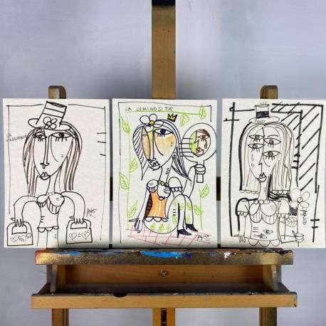 le tre zitelle, dipinto arte contemporanea dell'artista Alessandro Siviglia. Quadri moderni unici per arredare la cucina, quadri moderni con colore bianco colore beige, colori per cucina rustica, arredamento cucina a vista  per ristorante di lusso, quadri moderni per ristorazione.