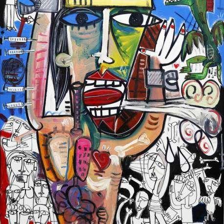 Coronavirus quadro moderno olio su tela dell'artista Alessandro Siviglia