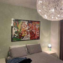 grande dipinto moderno con bandiera dell'italia