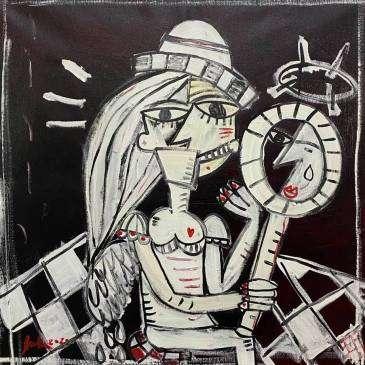 la donna ai tempi del coronavirus 70x70, olio su tela, donna con ascherina fpp2 che si specchia e non perde la sua vanità nonostante l'emergenza per pandemia di covid19