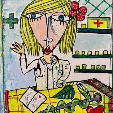 Ritratto dipinto a mano della farmacista