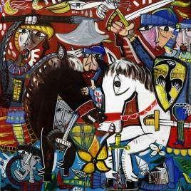 Bild mit mittelalterlichen Kampfszenen, was Ritter in Rüstung und zu Pferd zeigt