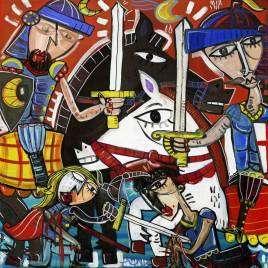mittelalterlicher Schwertkampf zu Pferd in modernem Malstil auf Leinwand, dekoratives energisches Wandbild
