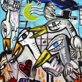 30x40 Tio Muerto, quadro moderno olio su tela dipinto a mano da Siviglia Alessandro, olio su tela originale dipinto a mano pezzo unico
