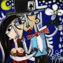 40x40 l'incato di te, olio su tela che raffigura due sposi, quadro moderno per matrimonio o nozze d'argento, luna di mile, quadri figurativi gli sposi.