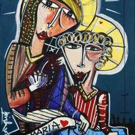 Quadro moderno ritratto Madonna, Ave Maria, quadro moderno per regalare a sacerdote, vescovo, prete. Dipinto arte sacra ritratto madonna con bambino.