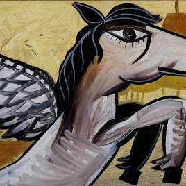 Pegaso il cavallo alato, il più famoso della mitologia greca, un dipinto dorato che illumina l'ambiente e dona una particolare dinamica ed energia