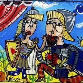 quadro sulla Sicilia, dipinto che rappresenta scena tealtro dei pupi, Orlando il Furioso, nel fondo si vede l'Etna