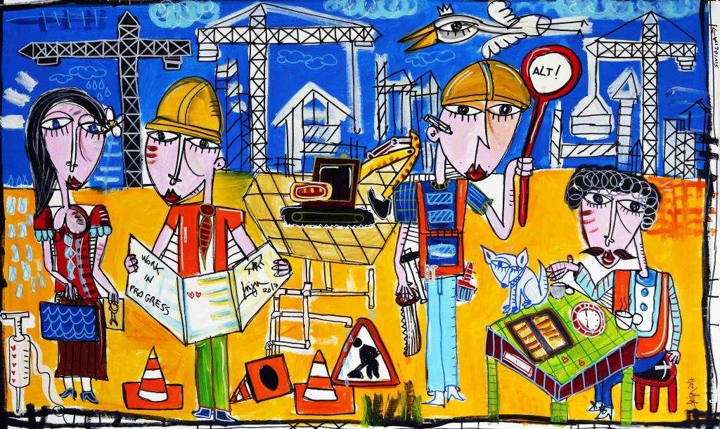 dipinto originale cantiere geometra architetto - alessandro siviglia