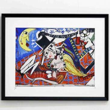 dipinto moderno bacio al lago ideale per regalare a san Valentino, artista Alessandro Siviglia, quadro moderno per arredare la casa, ideale per regalare a san Valentino