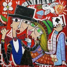 Festa dell'amore dipinto pezzo unico olio su tela per regalare a san valentino