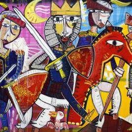 Dipinto moderno contemporaneo di una scena medievale con un Re a cavallo e altri cavalieri come scorta