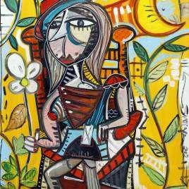 Bellissimo quadro moderno di Alessandro Siviglia con colori caldi ed accesi in stile cubista