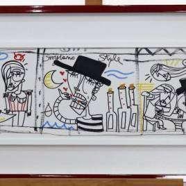 Il Decreto con cornice rossa lucida e passepartout disegni stile fumetti per abbellire parete sopra al divano