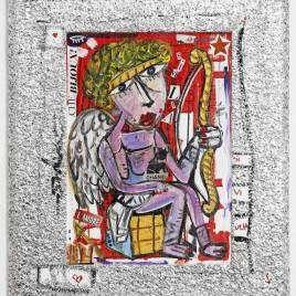 Ritratto di Cupido con arco e cagnolino tipo Bulldog Francese sulle gambe