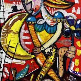 Quadro moderno originale di A. Siviglia ritratto di donna con fondo rosso