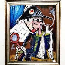 Ritratto olio su tela, Arlecchino al teatro by Alessandro Siviglia