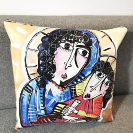 Cuscino con dipinto di Siviglia ritratto della Madonna con fondo dorato
