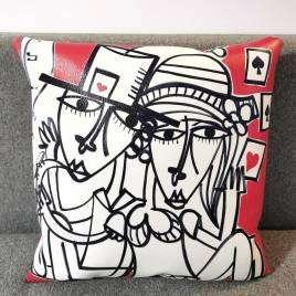 cuscino in ecopelle con disegno di Alessandro Siviglia