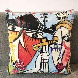 cuscino con dipinto di Alessandro Siviglia
