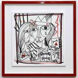 Quadro moderno con cornice rosso forte dipinto unico su tela Alessandro Siviglia quadri dipinti a mano su tela 56x55 Il Re Napoletano_con cornice