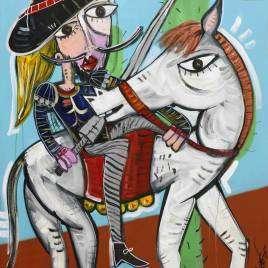 bellissimo dipinto di Don Chisciotte su un cavallo bianco