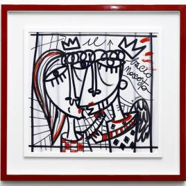 Bacio nascosto, dipinto a mano su tela con acrilico, quadro moderno con cornice rossa e passepartout pronto da appendere, quadro romantico con bacio