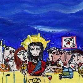quadro moderno che rappresenta l'ultima cena di Cristo dipinto sacro quadro religioso per arredare la sala pranzo
