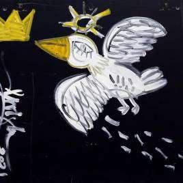 quadro moderno con fondo nero e colomba bianca simbolo della pace dipinta su tavola di legno d'un mobile riciclato a cui l'artista Alessandro Siviglia ha dato una nuova vita e un nuovo scopo