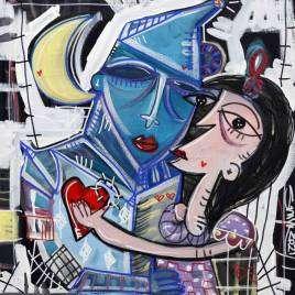 quadro moderno con l'uomo di latta dal mago di Oz che bacia Alice nel paese delle meraviglie storie fantastiche su tela raccontato dall'artista contemporaneo Alessandro Siviglia