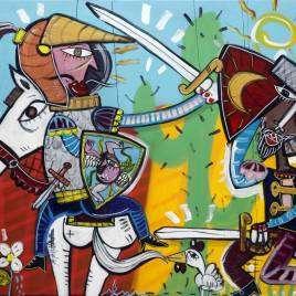 quadro moderno con pupi siciliani nel teatrino dipinto a mano con colori vivaci, dipinto unico originale dall'artista Alessandro Siviglia