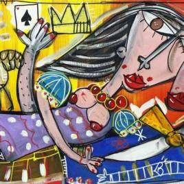 quadro moderno dipinto a mano su tela ritratto principe Filippo e la regina Elisabetta
