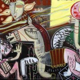 quadro moderno figurativo scena surreale con personaggi strani e colori scuri come verde marrone ma anche giallo e rosa