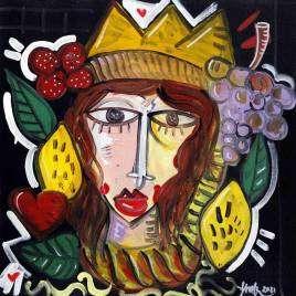 Bellissimo dipinto originale con forti contrasti che rappresenta la donna delle Teste di Moro, quadro moderno per arredare enoteca
