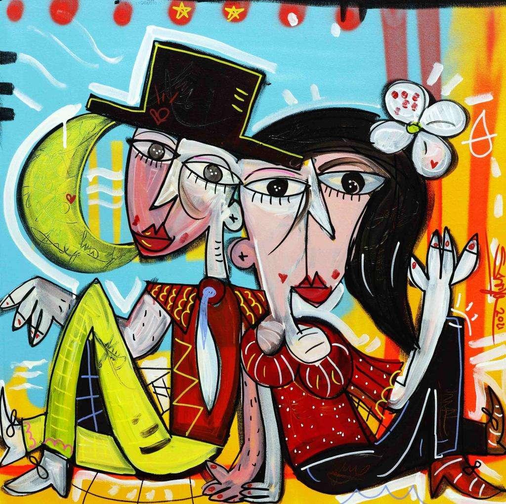 QUADRO moderno originale molto romantico e colorato con coppia di innamorati abbracciati regalo per gli sposi un dipinto che richiama la luna di miele molto decorativo