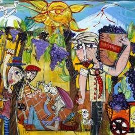quadro moderno molto colorato con simboli Siciliani come l'Etna, il sole, il vino, la terra dipinto a mano dall'artista italiano Alessandro Siviglia ideale per decorare punto vendita di un produttore di vino o alberghi in Sicilia