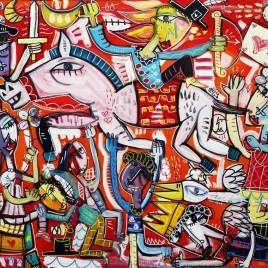 quadro moderno figurativo colorato con fondo rosso molto decorativo ideale per arredare la parete dietro il divano nel soggiorno di una casa ristrutturata