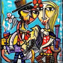 quadro moderno molto colorato Io, Astra e Zeneca rappresenta una post-covid party magari dopo che si sono vaccinati tutti a ballare insieme a riprendere una vita normale