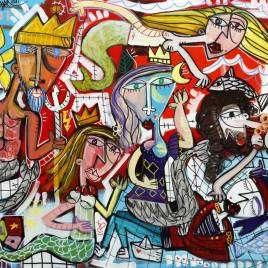 quadro moderno molto colorato dipinto a mano dall'artista famoso italiano Alessandro Siviglia il quadro rappresenta una scena mitologica con un pescatore salvato dalle sirene