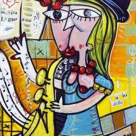 quadro moderno ritratto di donna con sassophono dipinto con colori caldi come il giallo e il rosso che formano un contrasto con l'azzurro del vestito della bellissima ragazza biond