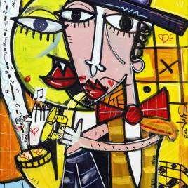 quadro moderno ritratto uomo con cappello che suona il saxophon con fondo giallo quadro allegro e solare molto romantico per arredare jazz bar