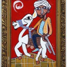 ritratto di un arabo a camello con fondo rosso e cornice vintage l'uomo è vestito elegante con il turbano, la pelle scura e la barba lunga orgoglioso e forte