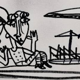 QUADRO MODERNO con operai in pausa e gru in fondo che rappresenta un cantiere il disegno è in bianco e nero su tela il quadro è lungo è stretto ideale per decorare la cucina
