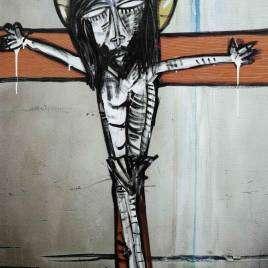 quadro moderno arte sacra con Gesù crocifisso realizzato con tecnica mista di fotografia astratta e colori acrilici su tela dipinto a mano dal noto artista Alessandro Siviglia
