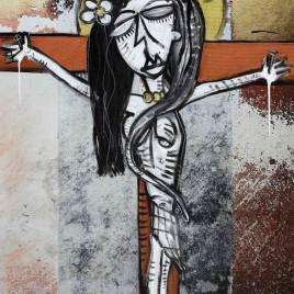 quadro moderno in stile cubista con fondo astratto che rappresenta Maria crocifissa come Gesù il dipinto è una combinazione fra fotografia astratta e pittura acrilica_piccola