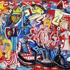 quadro moderno su tela con fondo rosso tela grande con tanti personaggi in stile figurativo cubista contemporaneo per arredare casa, decorare il soggiorno e open space dipinto a mano