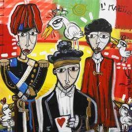 quadro moderno che rappresenta la corte dei conti con il presidente che legge il verdetto il carabiniere in alta uniforme e il valletto con il mantello rosso dipinto originale