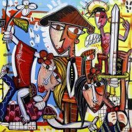 quadro moderno di Alessandro Siviglia molto colorato con torero che ricorda la Spagna romantico olio su tela colori accesi e contrasti intensi per arredare soggiorno
