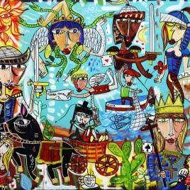 quadro moderno figurativo che rappresenta la Sicilia con trinacria, pupi siciliani, sant'agata, agricoltore con il carretto siciliano, il pescatore con la coppola su fondo azzurro